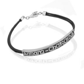 Celtic Love Unisex Leather/Silver Strap Bangle 0722